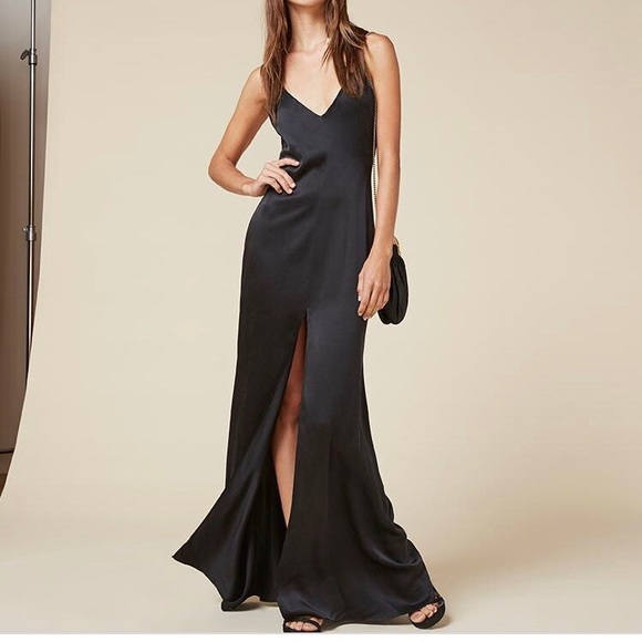 685fc2f64042 Reformation Long Black Evening Slip Cabot Dress. M 5ad9250a50687c8bdad73fda